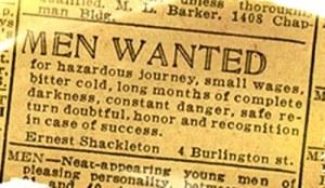 anuncio 1914 Shackleton para expedición Endurance
